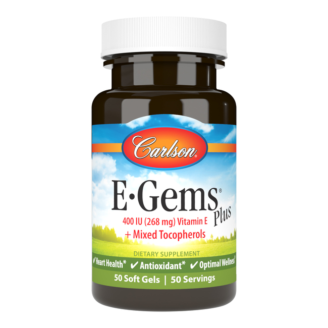 E-Gems Plus 400 IU (268 mg) has the potency of vitamin E as d-alpha tocopherol, plus the antioxidant value of other tocopherols, including d-beta, d-delta, & d-gamma.