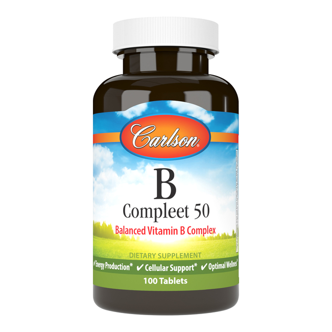 Carlson B Compleet is a balanced blend of the important B-complex vitamins, which support healthy energy production, cellular health, and optimal wellness.