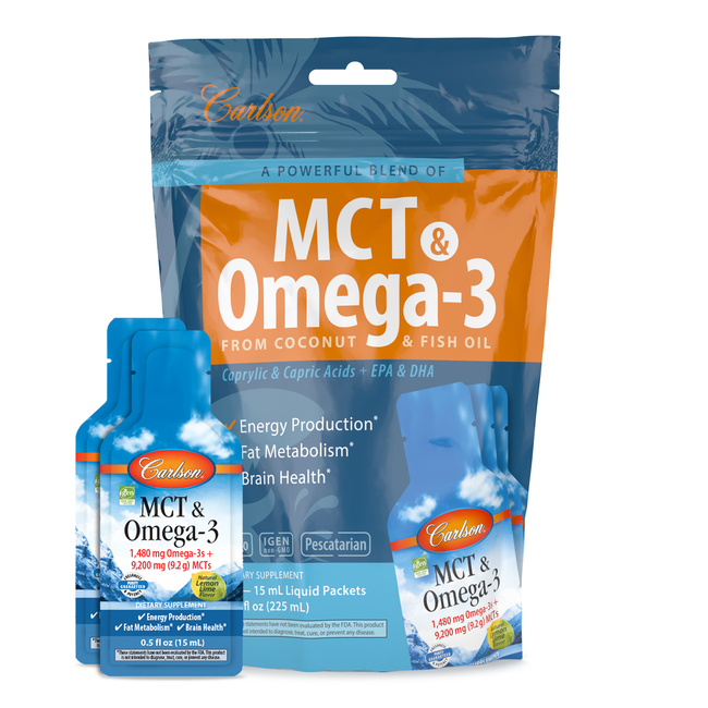 MCT & Omega-3 is a high-potency liquid blend of omega-3 fish oil and medium-chain triglyceride (MCT) Oil.