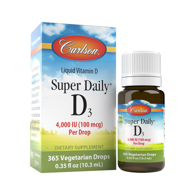 Get your daily dose of vitamin D3 by placing a drop of Super Daily® D3 in your food or drink. Each Super Daily® D3 drop provides 4,000 IU (100 mcg) of concentrated vitamin D.