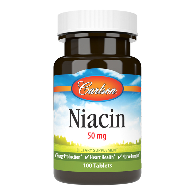 Niacin (vitamin B3) 50 mg is an essential B vitamin that's important for properly metabolizing fats and fat-like substances.