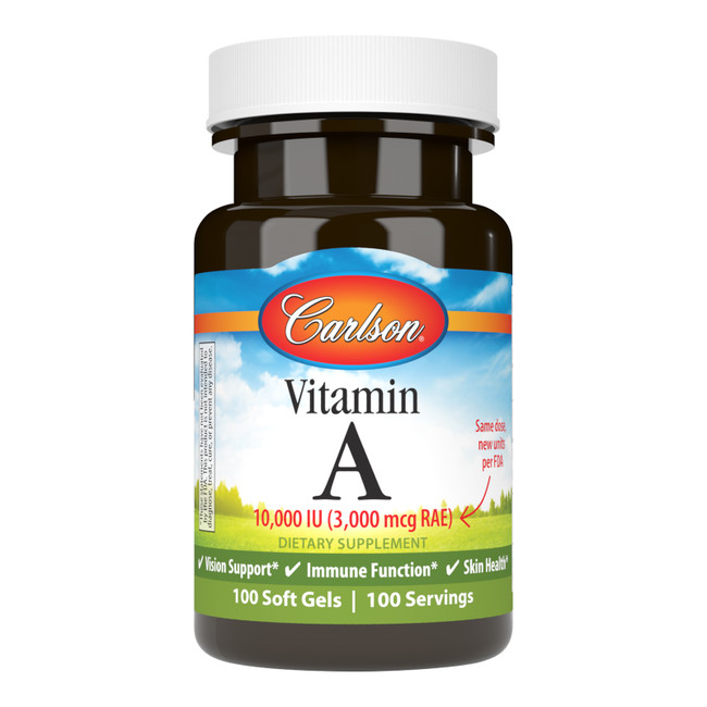 Vitamin A 10,000 IU (3,000 mcg RAE) is important for healthy vision.