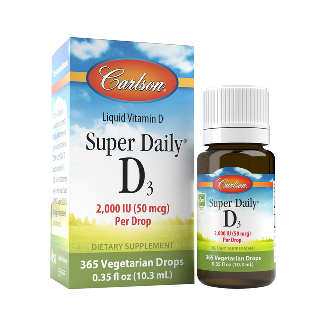 Get your daily dose of vitamin D3 by placing a drop of Super Daily® D3 in your food or drink. Each Super Daily® D3 drop provides 2,000 IU (50 mcg) of concentrated vitamin D.