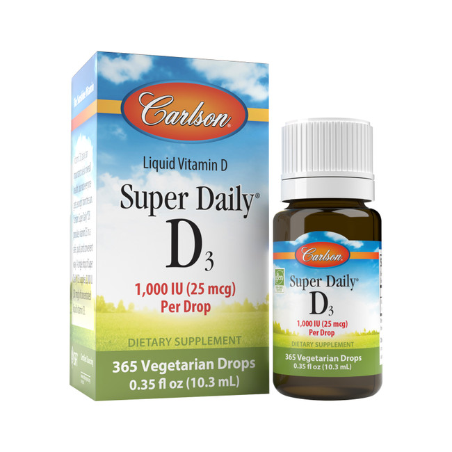 Super Daily D3 provides 1,000 IU (25 mcg) of vitamin D3 in a single drop that can be placed in food or a drink. Vitamin D3 promotes bone, heart, and immune health.