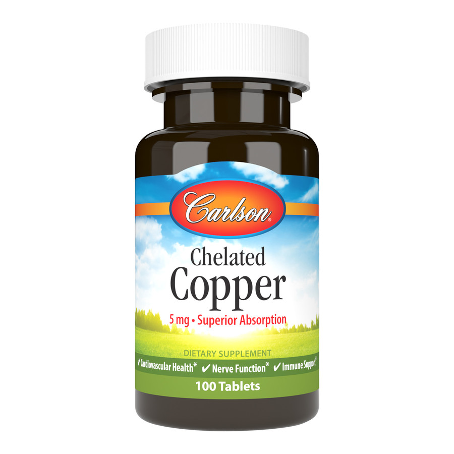 Carlson Chelated Copper promotes cardiovascular, nervous, and immune system health and supports cellular metabolism and connective tissue formation.