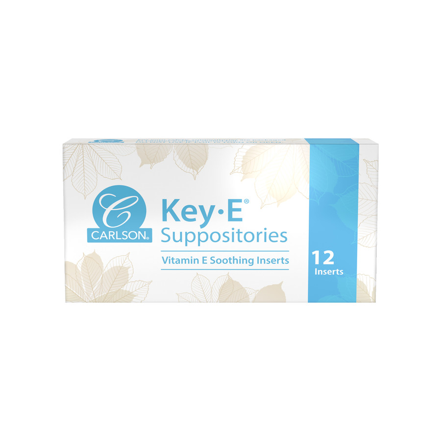 Key-E Suppositories are nourishing inserts that can be used vaginally or rectally to help with dryness or occasional constipation.