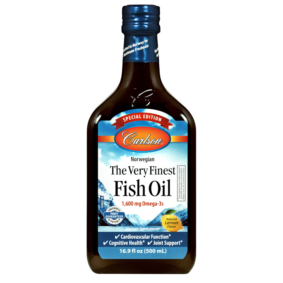 Carlson The Very Finest Fish Oil Special Edition bottle is sold exclusively from Carlson and provides 1,600 mg of omega-3s per serving.