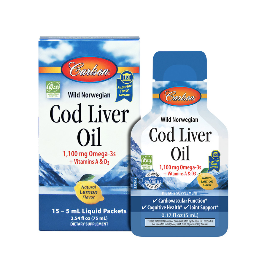 Carlson Cod Liver Oil is now available in convenient, single-serving packets for on-the-go - great for a purse, work bag, or gym bag.
