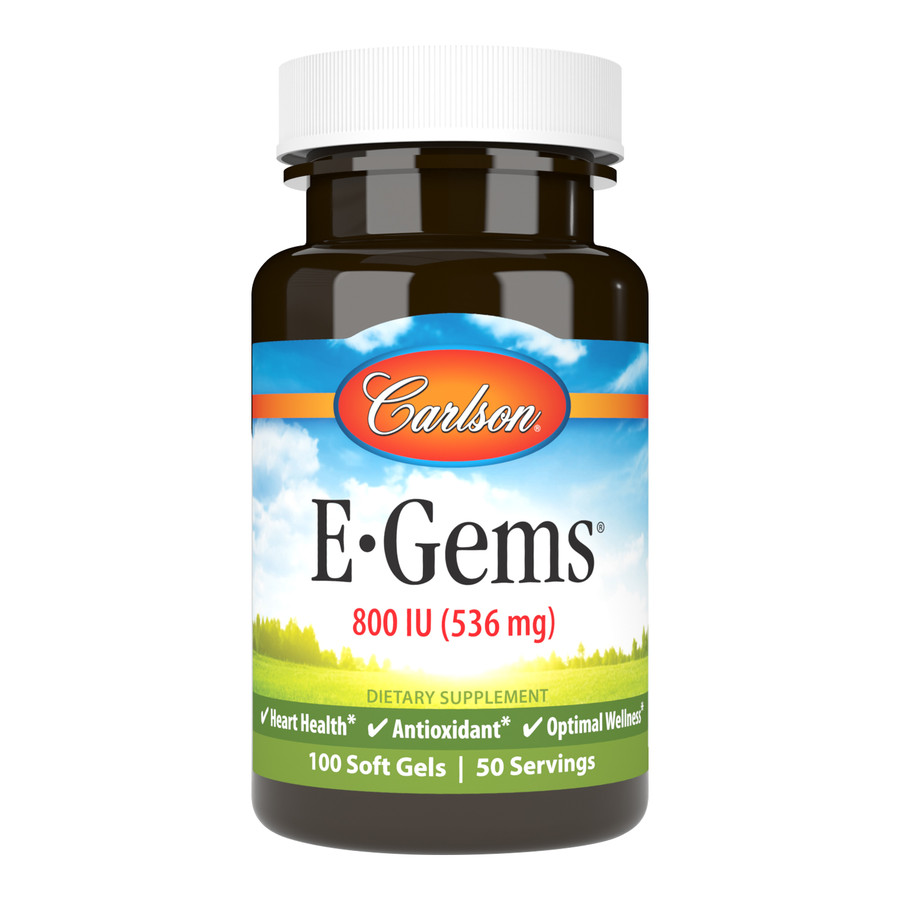 Since 1965, Carlson has provided one of the most complete lines of high-quality vitamin E. E-Gems 800 IU (536 mg) promotes cardiovascular health.