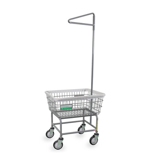 Antimicrobial Laundry Cart w/ Single Pole Rack