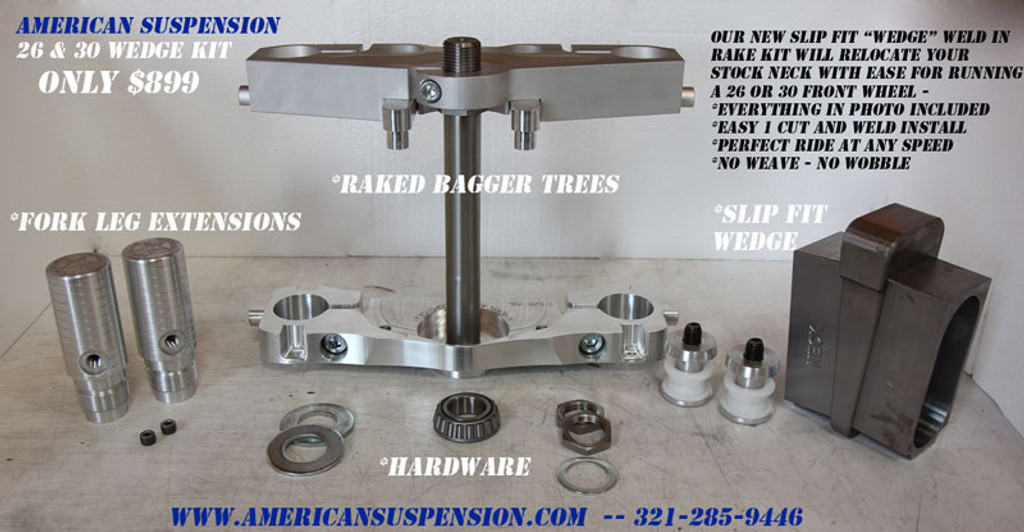 "26"" Wheel Easy Weld In WEDGE Kit for 2008 and below Harley-Davidson Touring"