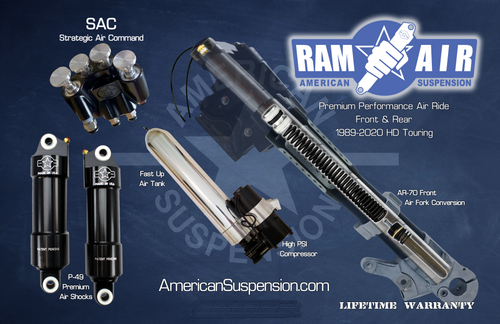 American Suspension Ram Air Front and Rear Air ride with fast up option for Harley Davidson