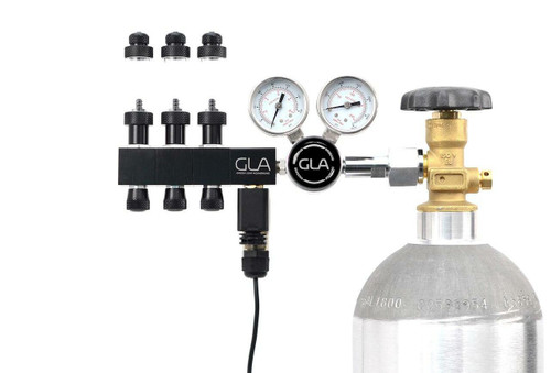 GLA PRO-DS-3 Dual Stage CO2 Regulator (3 Block Modular Manifold)