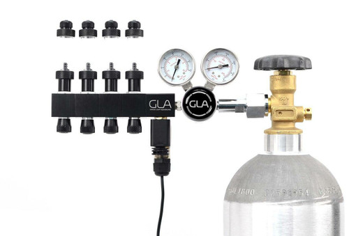 GLA PRO-DS-4 Dual Stage CO2 Regulator (4 Block Modular Manifold)