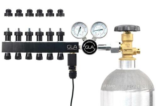 GLA PRO-DS-6 Dual Stage CO2 Regulator (6 Block Modular Manifold)