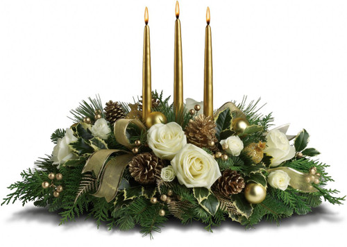 Know someone who deserves the royal treatment this holiday season? This shimmering golden centerpiece will shine its golden light upon them.
