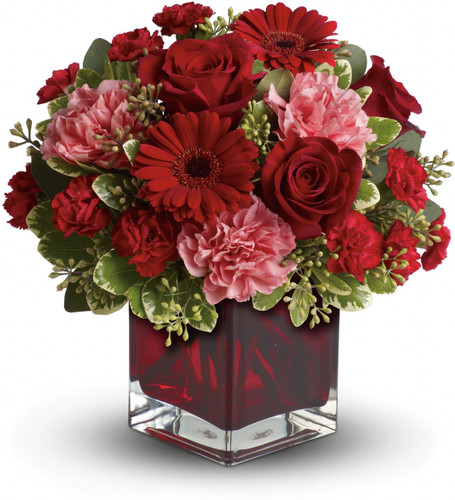 Hoping to be together forever? Whether you'd like to send a message of love to a favorite beau, best friend or family member, this charming, crimson-hued bouquet - delivered in a special Teleflora cube vase - will be a lovely sentiment of your affection.