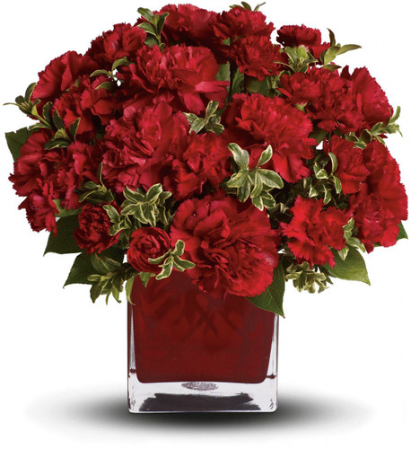 Simply speaking, red means romance. Send this bouquet of vibrant red carnations to your sweetheart and you'll convey passion, energy and desire. Remember also that you're sending not one gift but two: gorgeous flowers and a colorful cube vase.