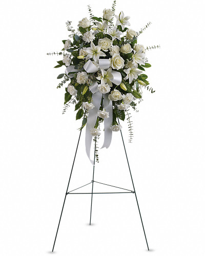 Stunning in its simplicity, this gorgeous spray of white roses, lilies and carnations decorated with white satin ribbon is a tasteful way to express your sympathy.   The elegant spray includes white roses, white Asiatic lilies and white carnations, accented with assorted greenery.