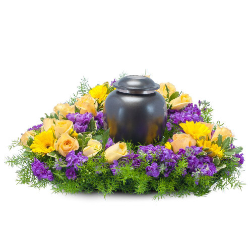 "Bright yellow and purple flowers create surroundings of vivid memories. Approximately 25"" (W) x 6""(H)"