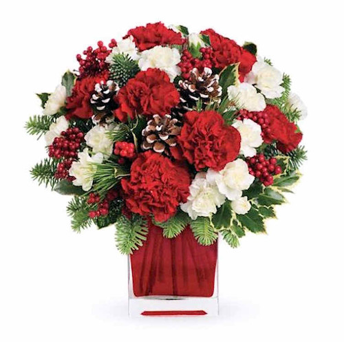 Make them merry with this sweet bouquet! Red carnations and white carnations are beautifully presented in our bright red glass cube.