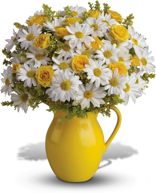 Picture someone receiving this sunny pitcher of daisies! It's so bright and full of warmth, it's guaranteed to make them smile. Besides being the perfect bouquet for any occasion, the dazzling yellow ceramic pitcher can be used and enjoyed for years to come