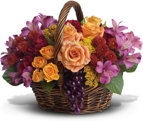 Know anyone who would really appreciate a basketful of joy right now? Send love and flowers with this beautiful array of fantastic fall flowers.