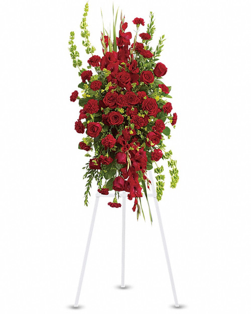 Your care and compassion will be appreciated by all who lay eyes on this radiant standing spray. A variety of lovely vibrant red blossoms contrasted by vivid green of bells of Ireland will deliver your heartfelt condolences. Perfectly.  This elegant, all red funeral spray conveys compassion and deep devotion. Presented on a traditional easel, it features a beautiful array of red funeral flowers accented with unique bells of Ireland and other graceful greens.      Stunning blooms such as red roses, red gladioli and red carnations are accented with bells of Ireland, bupleurum, myrtle and salal on a classic wire easel.