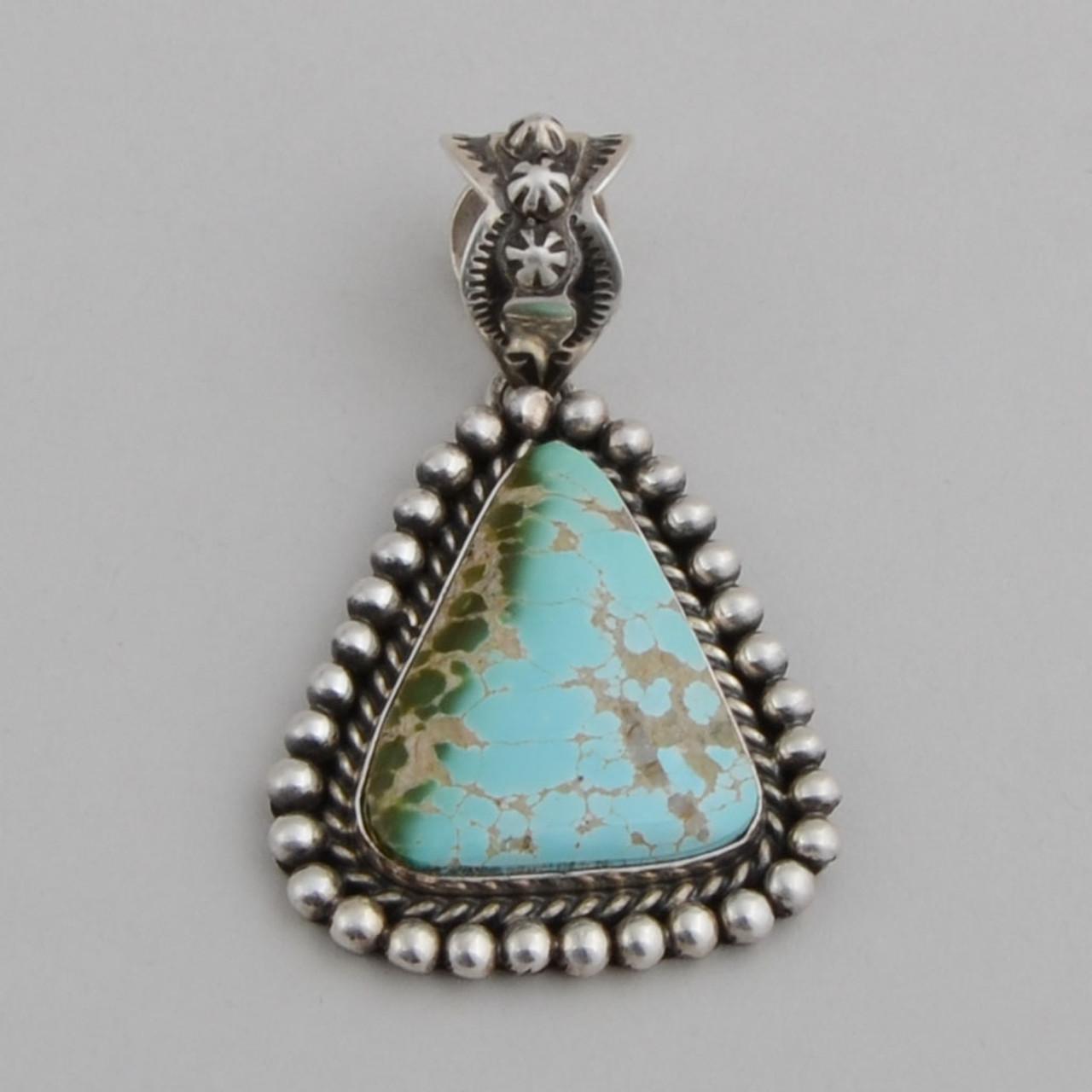 Triangle Royston Turquoise Silver Pendant