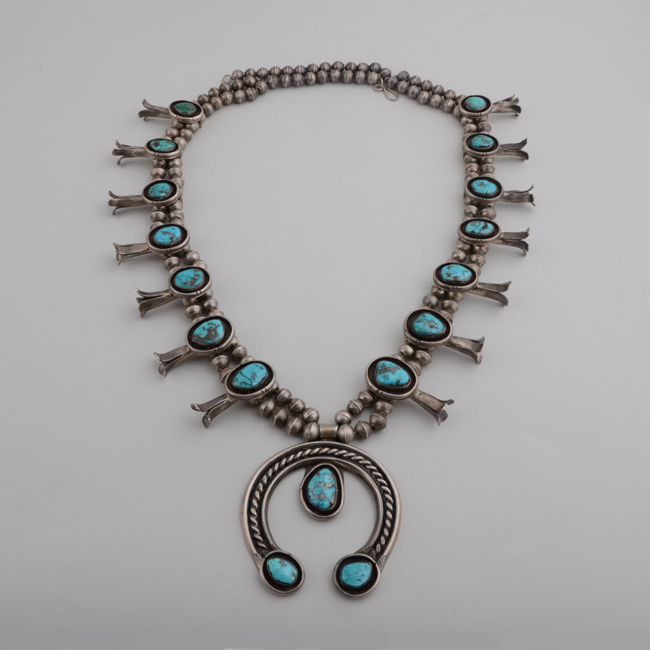 Navajo Green Turquoise Bead and Large Silver Squash Blossom Necklace