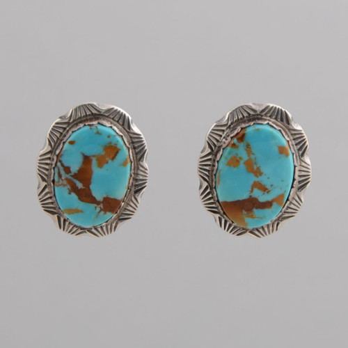 Clip Turquoise tile earrings, by Dean Sandoval.