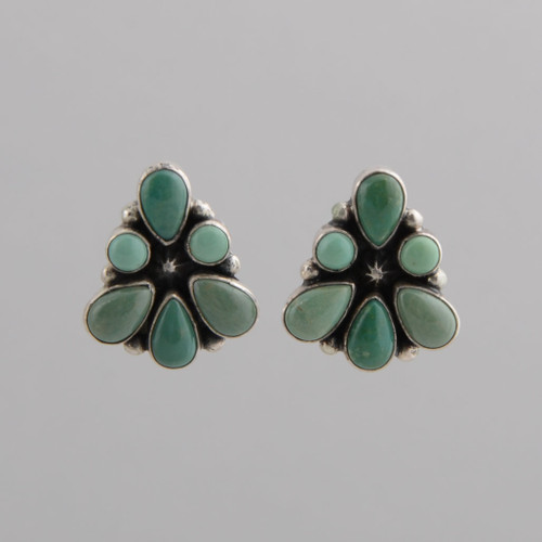 Clip Green Turquoise tile earrings, by Geneva Apachito.