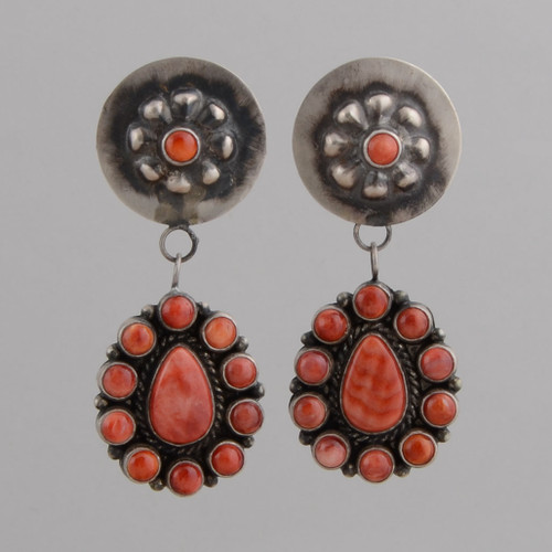 Sterling Silver Earrings, w/ Orange Spiny Oyster Shell, Teardrop and Round Shape w/ Repousse Post.