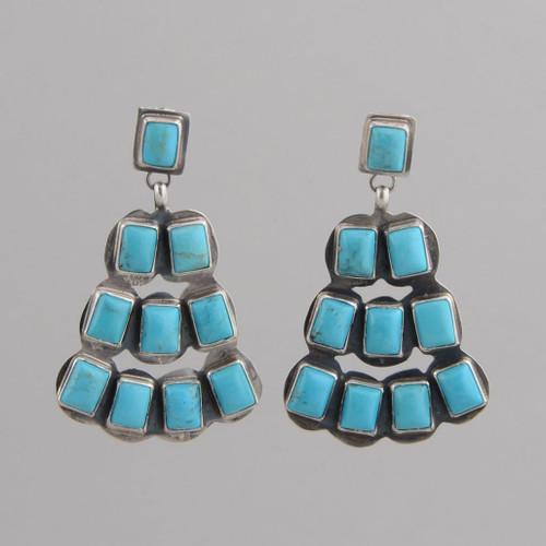 Sterling Silver Fan-Shaped Dangle Earrings with Blue Turquoise Stones, w/ Post.