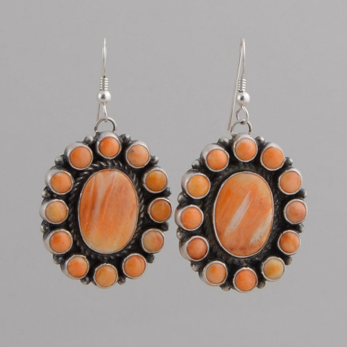 Sterling Silver Earrings, w/ Orange Spiny Oyster Shell, Oval and Round Dangle, w/ Wire.