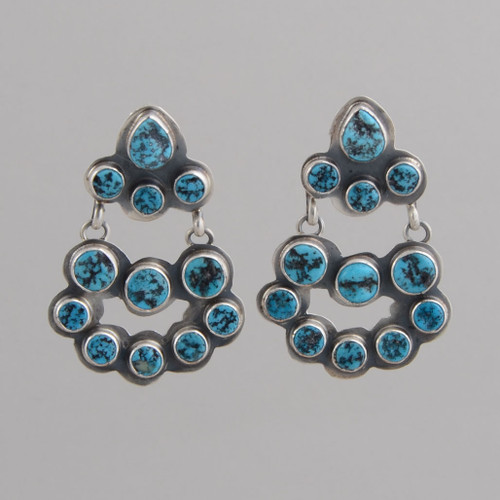 Sterling Silver Tiered Earrings with Kingman Turquoise, w/ Post.