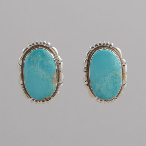 Sterling Silver Oval Button Clip Earrings with Nevada Blue Turquoise, Clip.