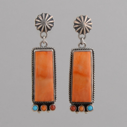 Sterling Silver Earrings, w/ Orange Spiny Oyster Shell Rectangle, Red Coral, Orange Spiny Oyster Shell, Turquoise Round, Repousse w/ Post.