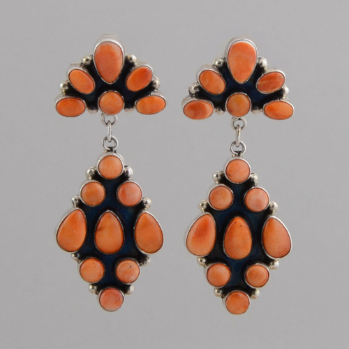 Sterling Silver Earrings, w/ Orange Spiny Oyster Shell, Dangle, w/ Oval and Round Shape w/ Post.