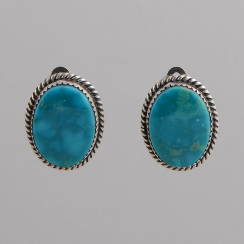 Sterling Silver Oval Clip Earrings with Blue Green Turquoise.  Clip.