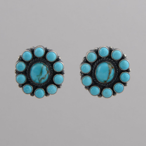 Sterling Silver Clip Earrings with Round Shaped Blue Turquoise Stones, Clip.