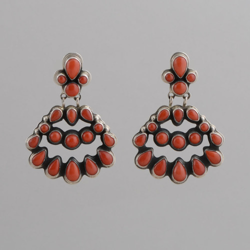 Sterling Silver Earrings w/ Red Coral Chandelier Style w/ Post.
