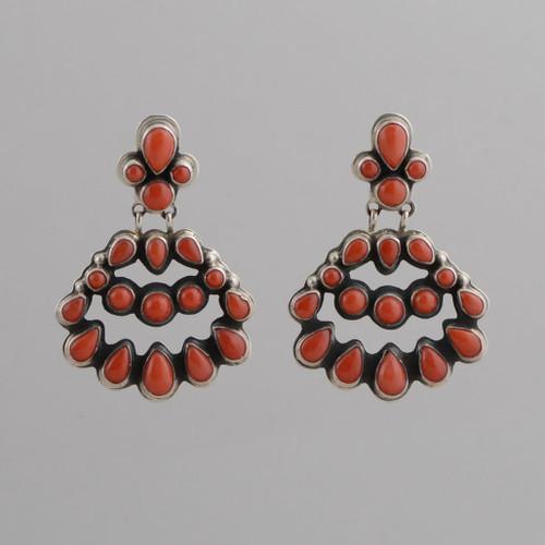 Sterling Silver Earrings w/ Red Coral Chandelier Style w/ Post.