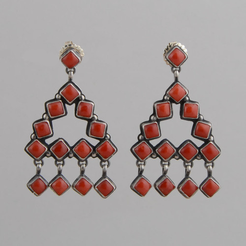 Sterling Silver Earrings w/ Red coral, Chandelier Style w/ Post.