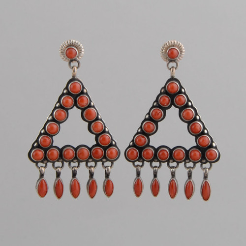 Sterling Silver Earrings w/ Red Coral, Triangle w/ Dangles, w/ Posts.
