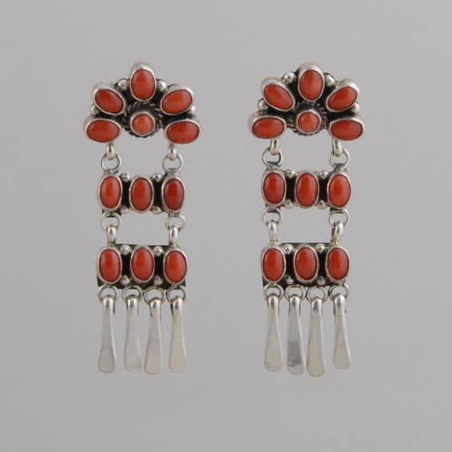 Sterling Silver Dangle Earrings, Set with Orange Spiny Oyster Shell.  Sterling Silver Bead Detail at bottom of Earring, w/ Post.