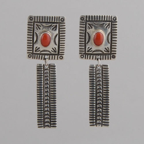 Sterling Silver Earrings w/ Red Coral, Dangle w/ Post, Navajo Made - No Hallmark
