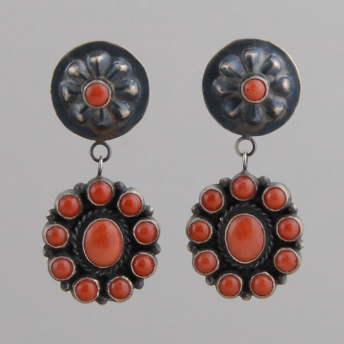 Sterling Silver Earrings w/ Red Coral, Repousse w/ Post, Anthony Skeets.