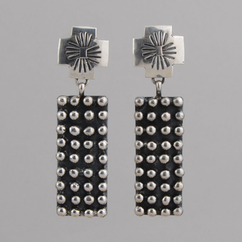 Sterling Silver Dangle Earrings, with Directional Symbols at Top and Detail Beads, w/ Post