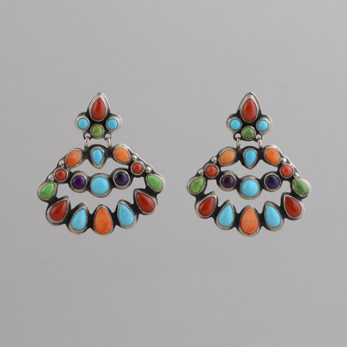 Sterling Silver Earrings w/ Red Coral, Gaspeite, Turquoise, Orange Spiny Oyster Shell, Sugilite, Chandelier Style w/ Post.